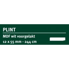 LWK: GREENLINE MDF PLINT 12 X 55 MM WIT GEGROND 244 CM