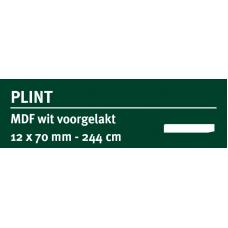 LWK: GREENLINE MDF PLINT 12 X 70 MM WIT GEGROND 244 CM