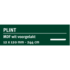 LWK: GREENLINE MDF PLINT 12 X 120 MM WIT GEGROND 244 CM