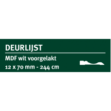 GREENLINE MDF DEURLIJST CHAMBRANT 12X70 MM WIT GEGROND 244 CM