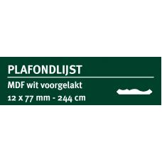 LWK: GREENLINE MDF PLAFONDLIJST 12 X 77 MM WIT GEGROND 244 CM