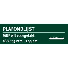 LWK: GREENLINE MDF PLAFONDLIJST 16 X 115 MM WIT GEGROND 244 CM