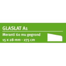 LWK: MERANTI GLASLAT A1 15 X 28 MM RONDOM 60 MU WIT GEGROND 275 CM