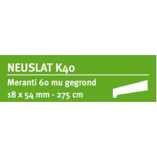 LWK: MERANTI NEUSLAT K40 18 X 54 MM RONDOM 60 MU WIT GEGROND 275 CM