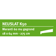LWK: MERANTI NEUSLAT K50 18 X 64 MM RONDOM 60 MU WIT GEGROND 275 CM